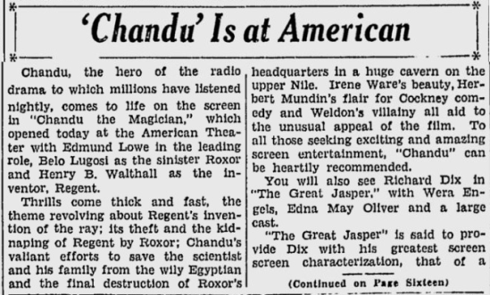 Chandu The Magican, San Jose Evening News, October 19, 1933 b