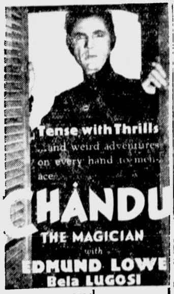 Chandu The Magican, San Jose Evening News, October 19, 1933