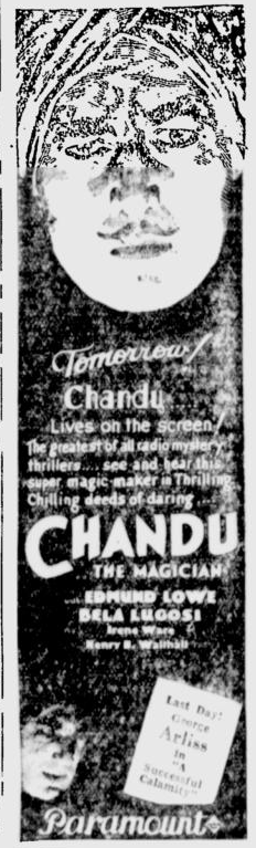 Chandu The Magican, The Desert News, October 6, 1932