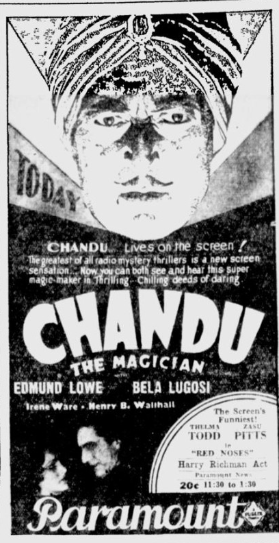 Chandu The Magican, The Desert News, October 7, 1932