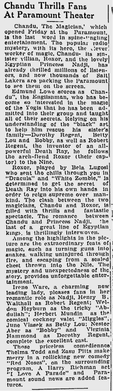 Chandu The Magican, The Desert News, October 8, 1932 b
