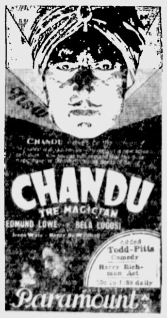 Chandu The Magican, The Desert News, October 8, 1932