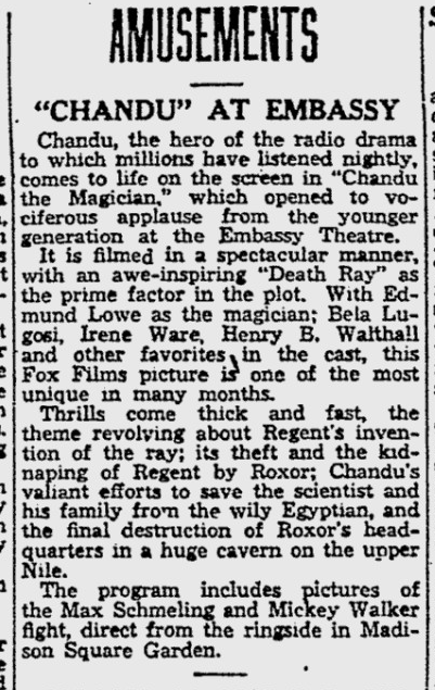 Chandu The Magican, The Reading Eagle, October 3, 1932