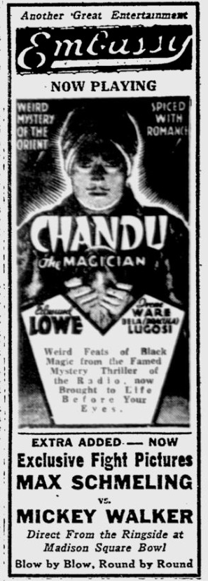 Chandu The Magican, The Reading Eagle, October 4, 1932