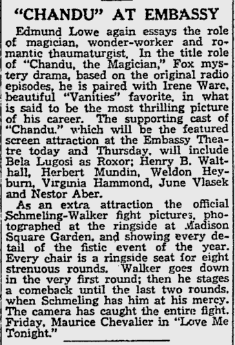 Chandu The Magican, The Reading Eagle, October 5, 1932 b