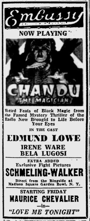 Chandu The Magican, The Reading Eagle, October 5, 1932
