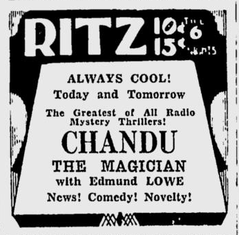 Chandu The Magican, The Spokane Daily Chronicle, June 20, 1933