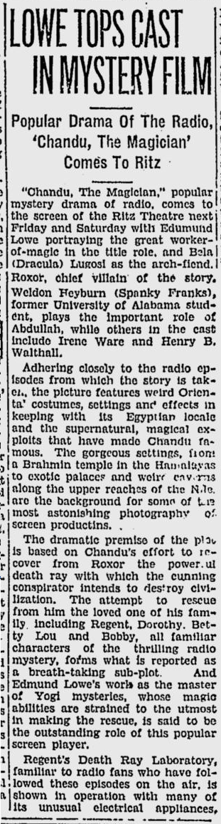 Chandu The Magican, The Tuscaloosa News, October 20, 1932 b