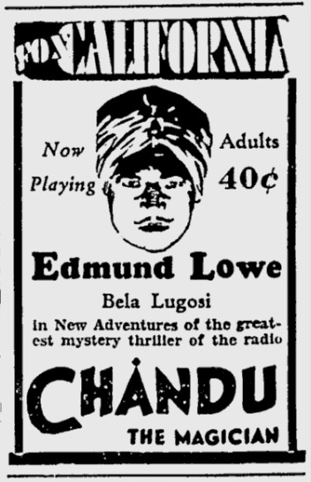 Chandu, The Magician, Berkeley Daily Gazette, October 11, 1932