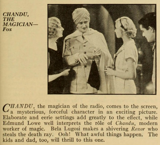 Chandu The Magician, Photoplay Magazine, November, 1932
