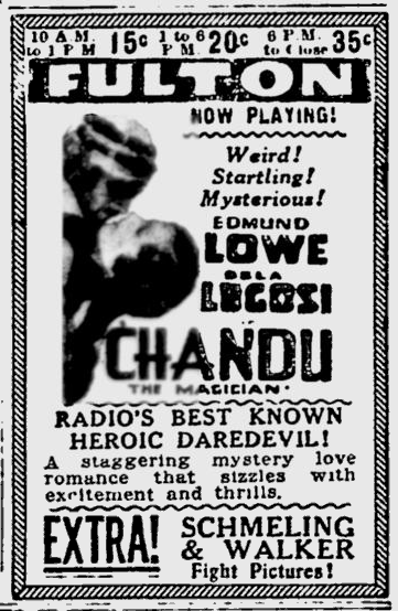 Chandu The Magician, The Pitsburgh Press, September 30, 1932