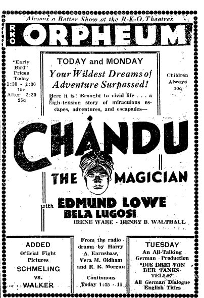 Chandu - unknown newspaper advertisement