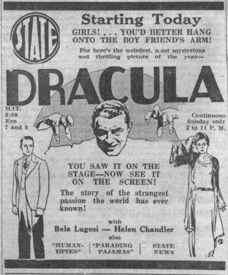Dracula Courtesy of Vintage Cinema Ads