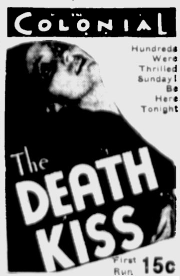 Death Kiss, Eugene Register-Guard, March 26, 1933