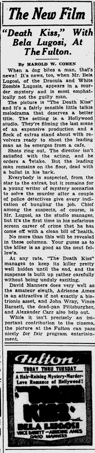 Death Kiss, Pitsburgh Post-Gazette, February 17, 1933