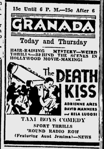 Death Kiss, Spokane Daily Chronicle, July 19, 1933
