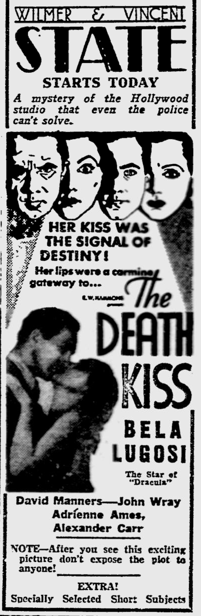 Death Kiss, The Reading Eagle, February 22, 1933