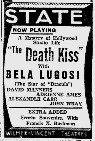 Death Kiss, The Reading Eagle, February 23, 1933