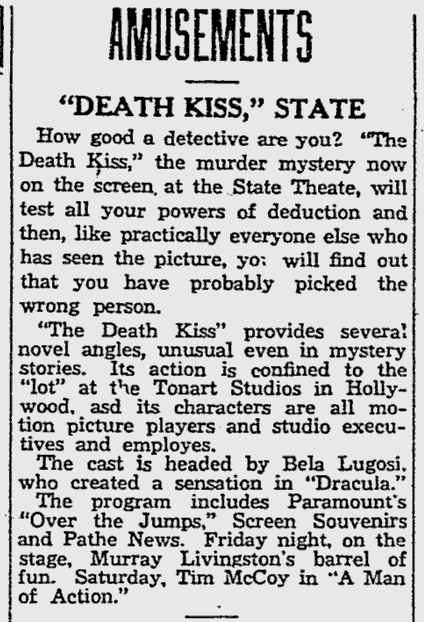Death Kiss, The Reading Eagle, February 27, 1933 b