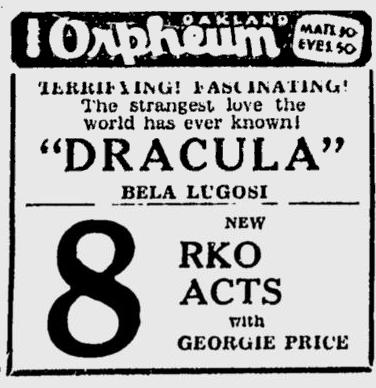 Dracula, Berkeley Daily Gazette, April 2, 1931