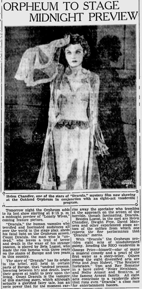 Dracula, Berkeley Daily Gazette, April 3, 1931