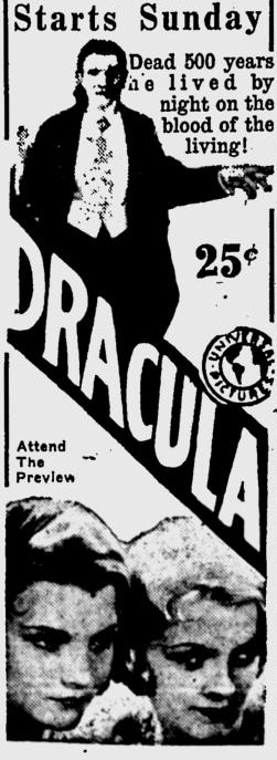 Dracula, Eugene, Register-Guard, August 21, 1931