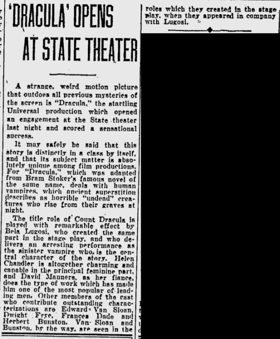 Dracula, Eugene, Register-Guard, August 23,1931 2