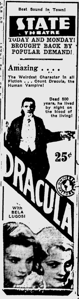 Dracula, Eugene, Register-Guard, August 23,1931