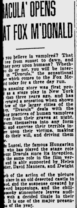 Dracula, Eugene, Register-Guard, March 15, 1931 2