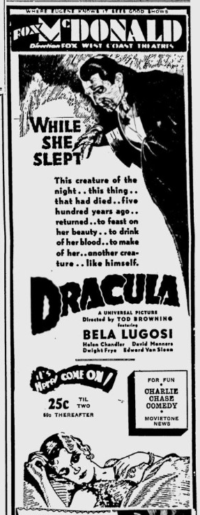 Dracula, Eugene, Register-Guard, March 15, 1931