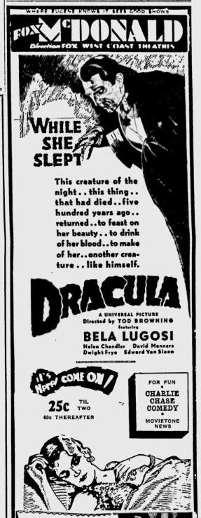 Dracula, Eugene, Register-Guard, March 15, 1931