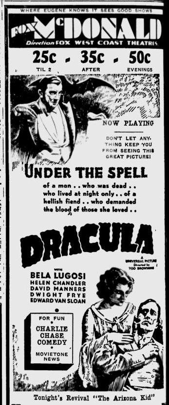 Dracula, Eugene, Register-Guard, March 16, 1931