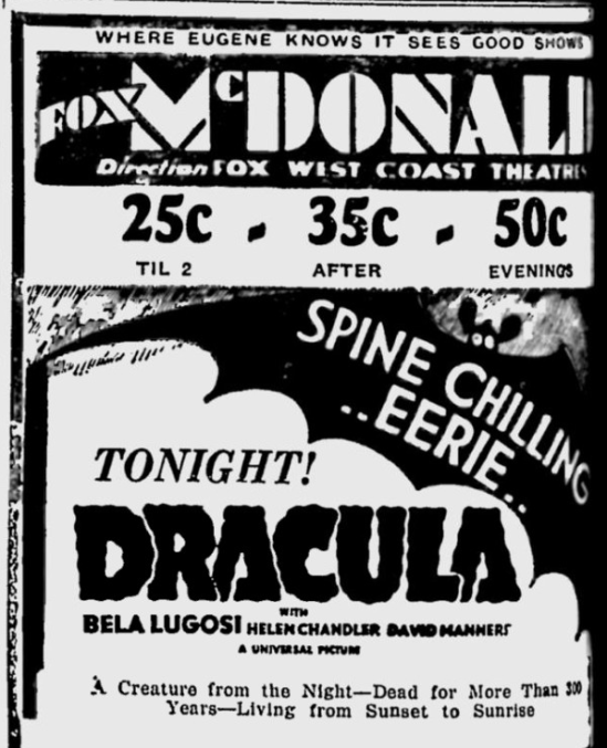 Dracula, Eugene, Register-Guard, March 17,1931 2