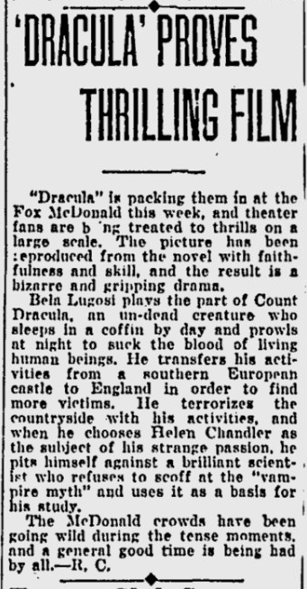 Dracula, Eugene, Register-Guard, March 17,1931