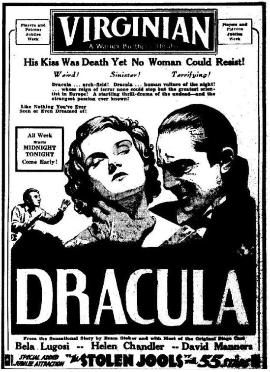 April 5, Dracula newspaper advertising Charleston Daily Mail, 1931