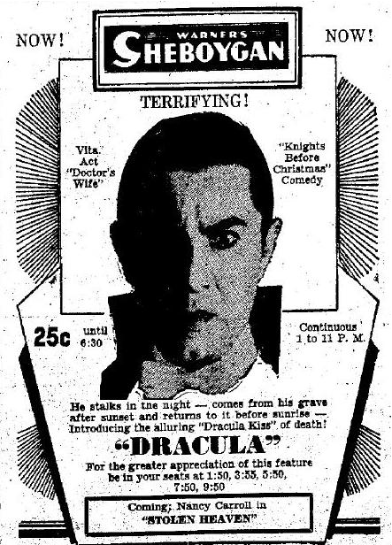 March 16, Dracula newspaper advertising Sheboygan Press, 1931