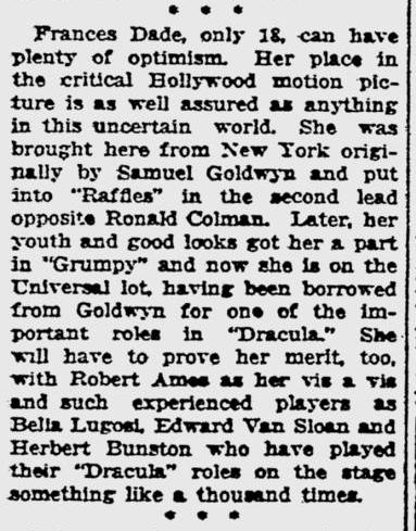 Dracula, Pitsburgh Post-Gazette, October 10, 1930