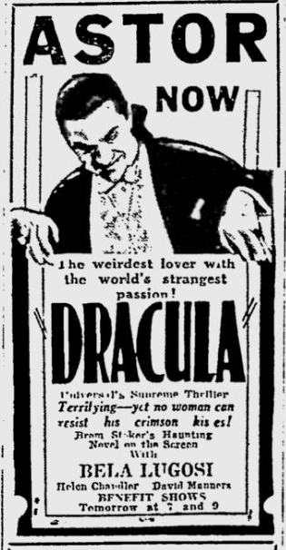 Dracula, Reading Eagle, March 21, 1931