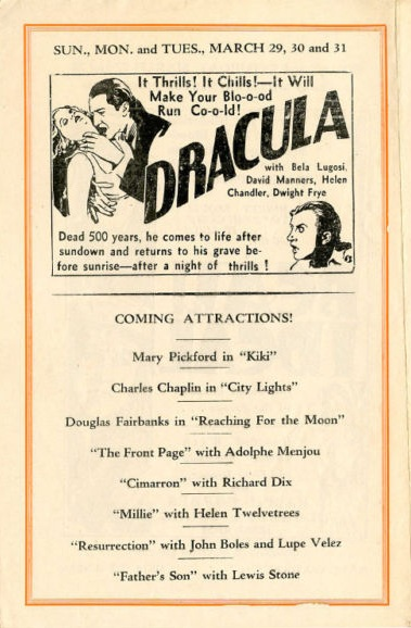 Dracula Rivoli Theatre, Matawan, New Jersey March 1931