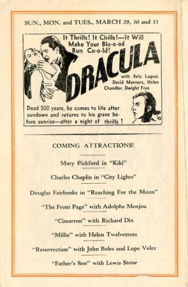 Dracula Rivoli Theatre, Matawan, New Jersey March 1931