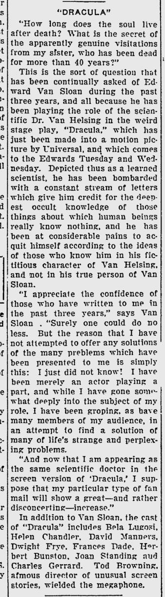 Dracula, Sarasota Herald-Tribune, March 23, 1931