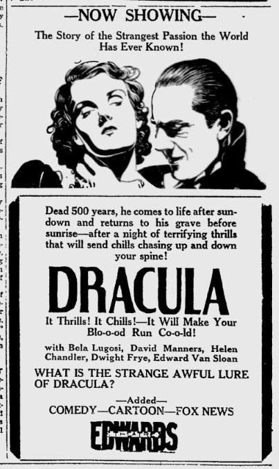 Dracula. Sarasota Herald-Tribune, March 24, 1931