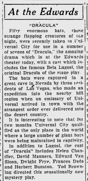 Dracula. Sarasota Herald-Tribune, March 25, 1931