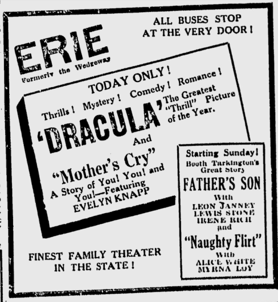 Dracula, Schenectady Gazette, April 25, 1931
