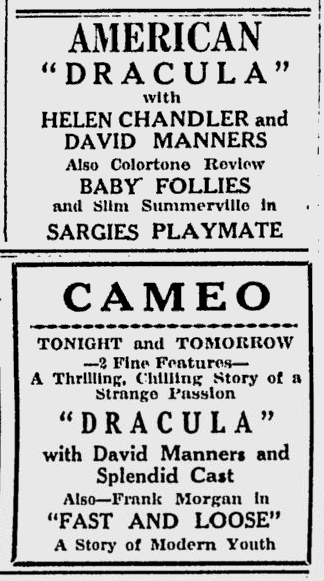 Dracula, Schenectady Gazette, April 27, 1931