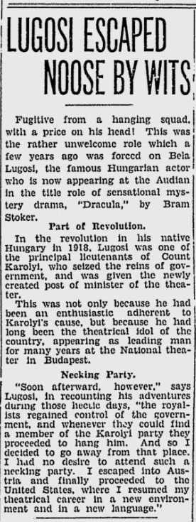 Dracula. Spokane Daily, April 10, 1931 2