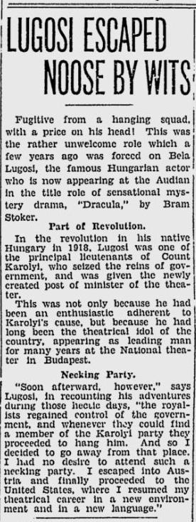 Dracula. Spokane Daily, April 10, 1931 2