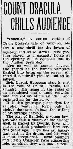 Dracula. Spokane Daily, April 10, 1931 3