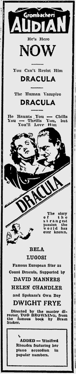 Dracula. Spokane Daily, April 10, 1931 4