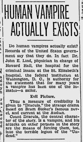 Dracula. Spokane Daily, April 11, 1931